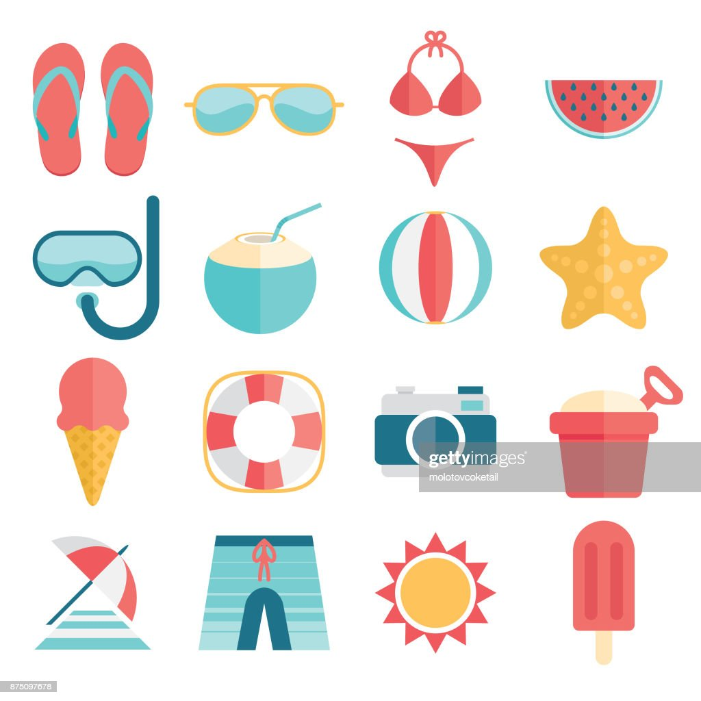 flat and simple summer vacation icon set : Stock Illustration