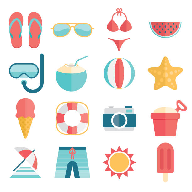 flat and simple summer vacation icon set - ice cream stock illustrations
