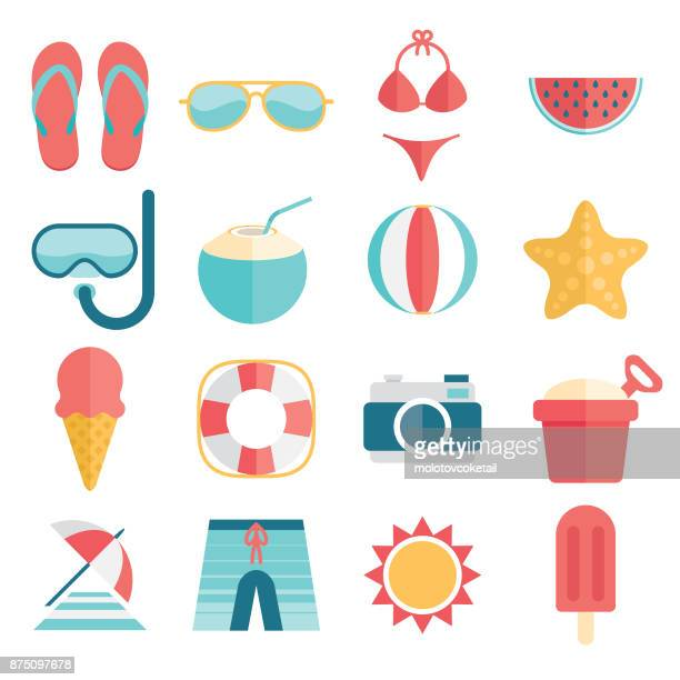 flat and simple summer vacation icon set - summer stock illustrations