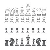 Flat and Thin Line Chess Pieces Set. Vector