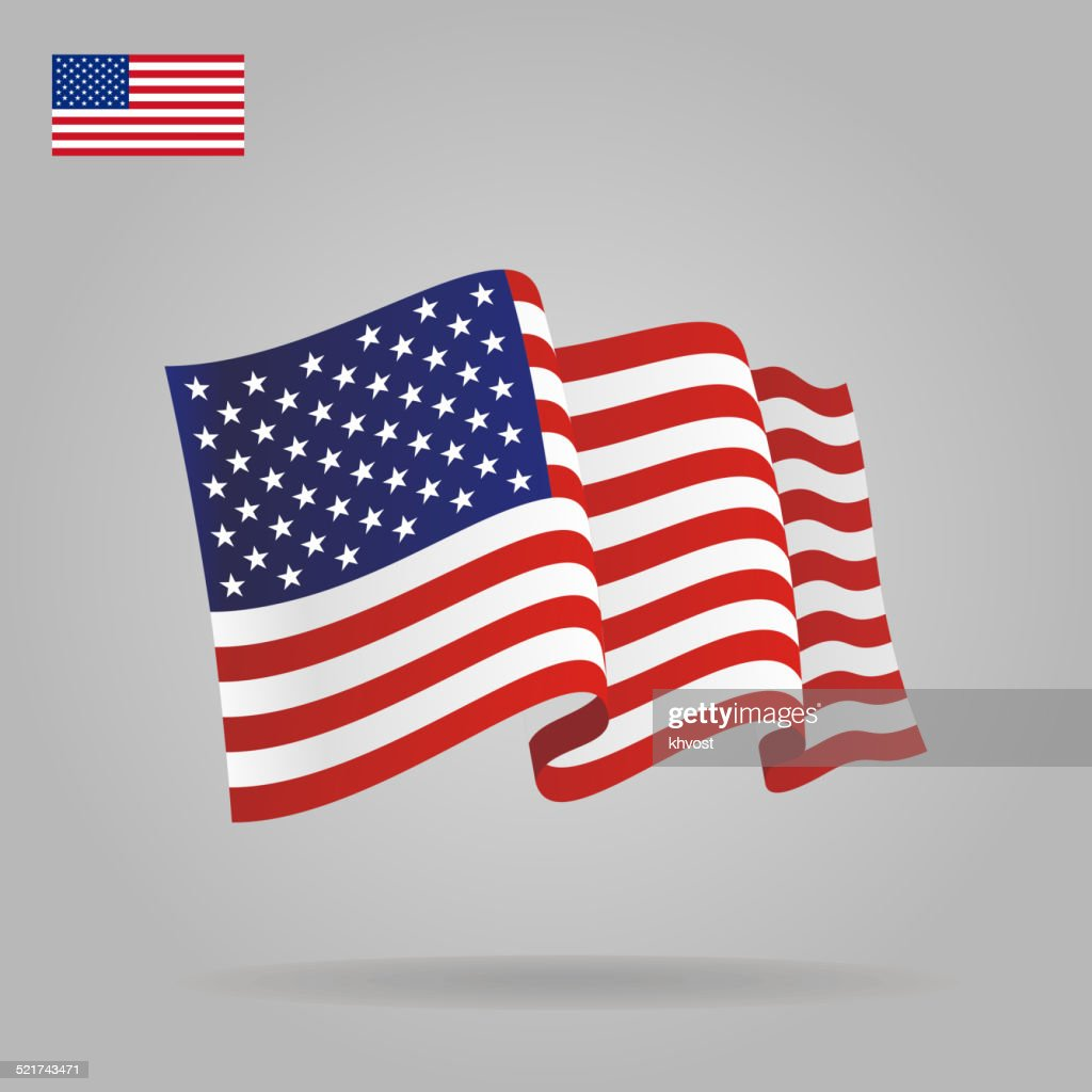Flat and waving American Flag.