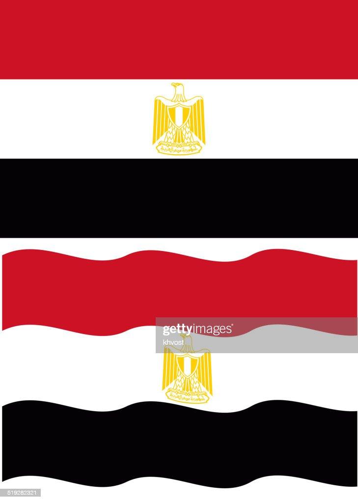 Flat and waving Egyptian Flag