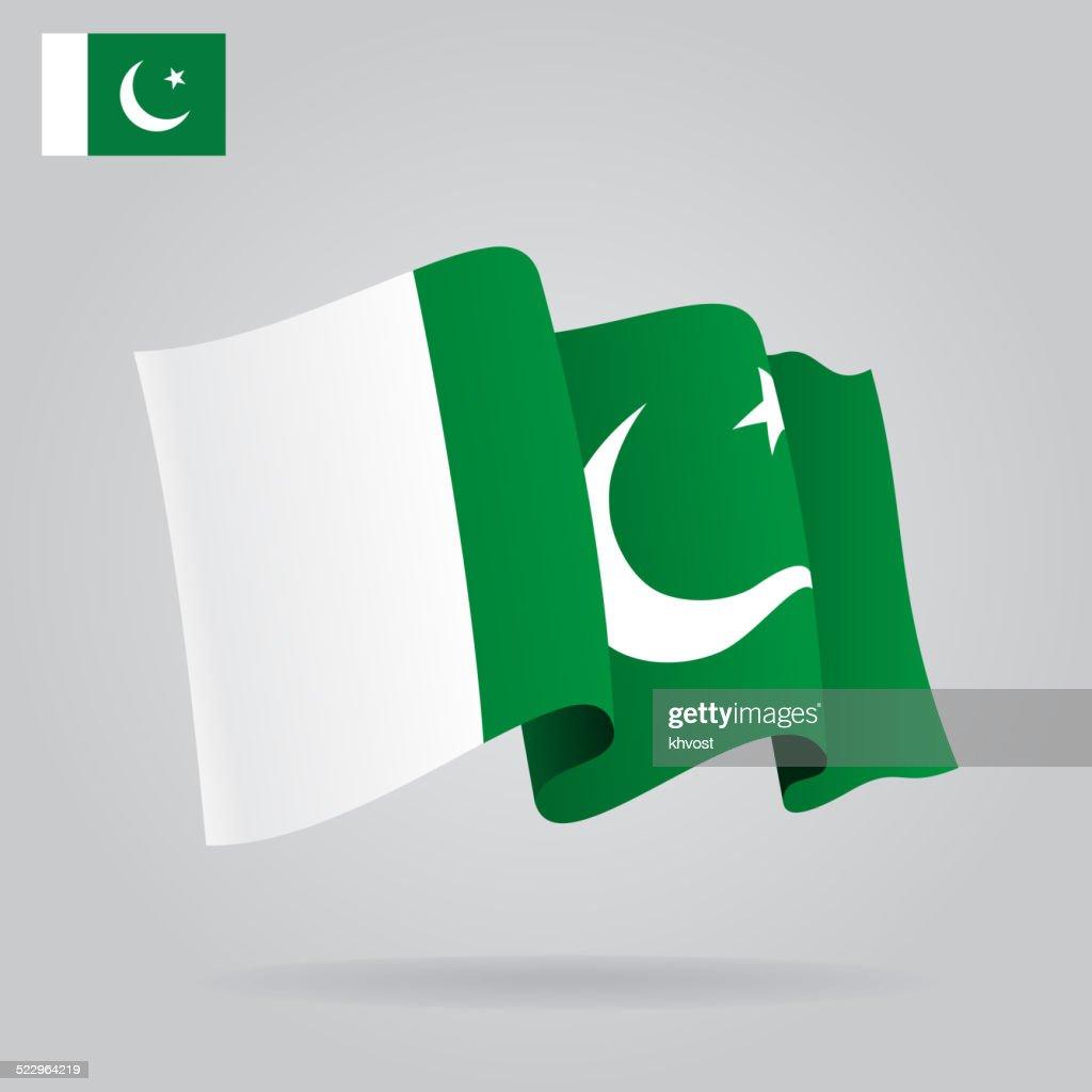 Flat and waving Pakistani Flag. Vector