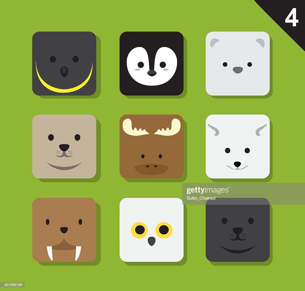 Flat Animal Faces Application Icon Cartoon Vector Set 4 (Arctic)