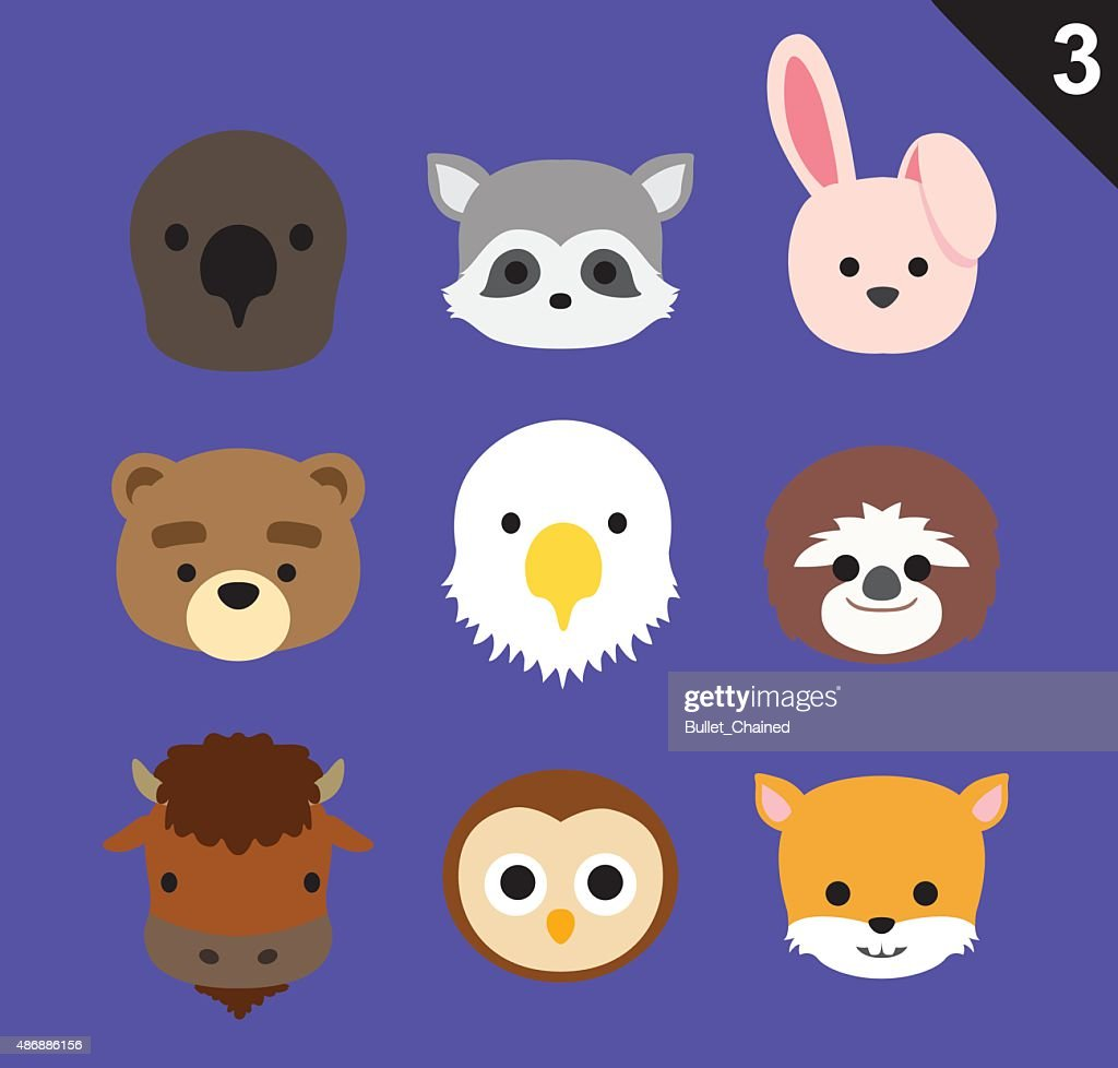 Flat Animal Faces Icon Cartoon Vector Set 3 (US)