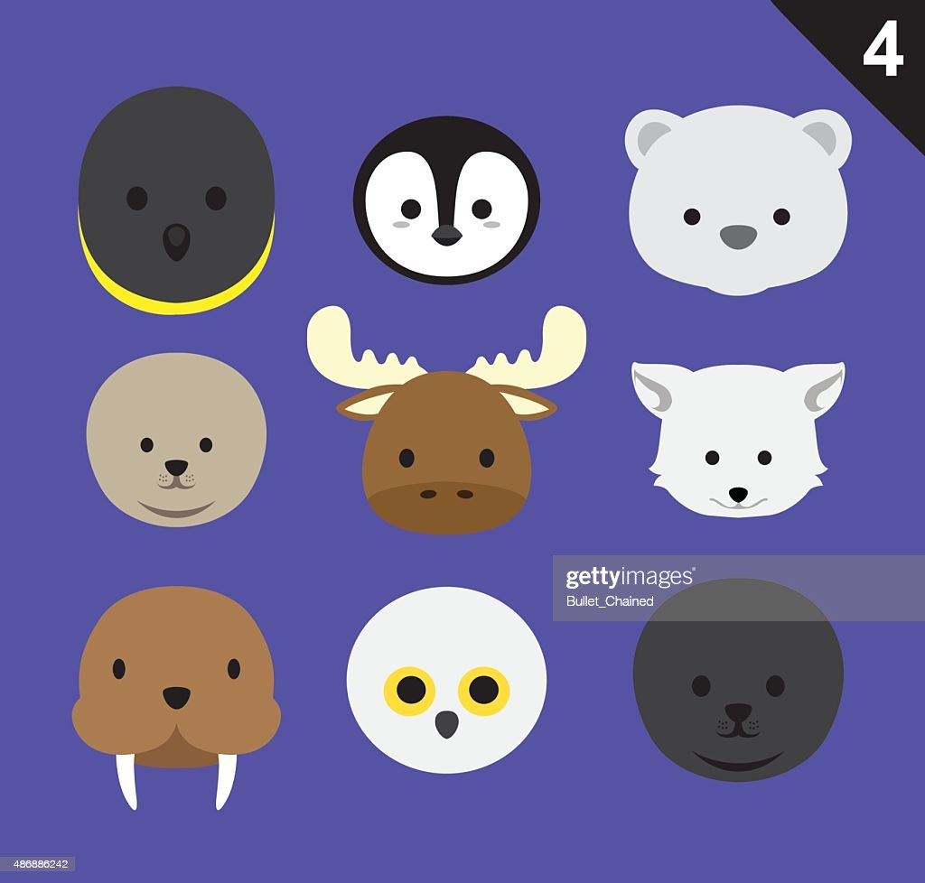 Flat Animal Faces Icon Cartoon Vector Set 4 (Arctic)