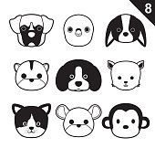Flat Animal Faces Monochrome Icon Cartoon Vector Set 8 (Pet)