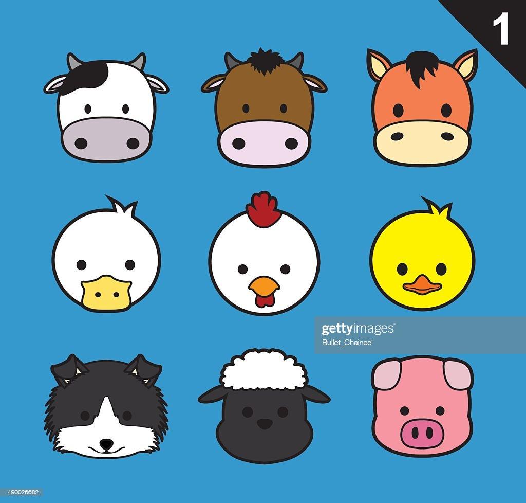 Flat Animal Faces Stroke Icon Cartoon Vector Set 1(Farm Animals)