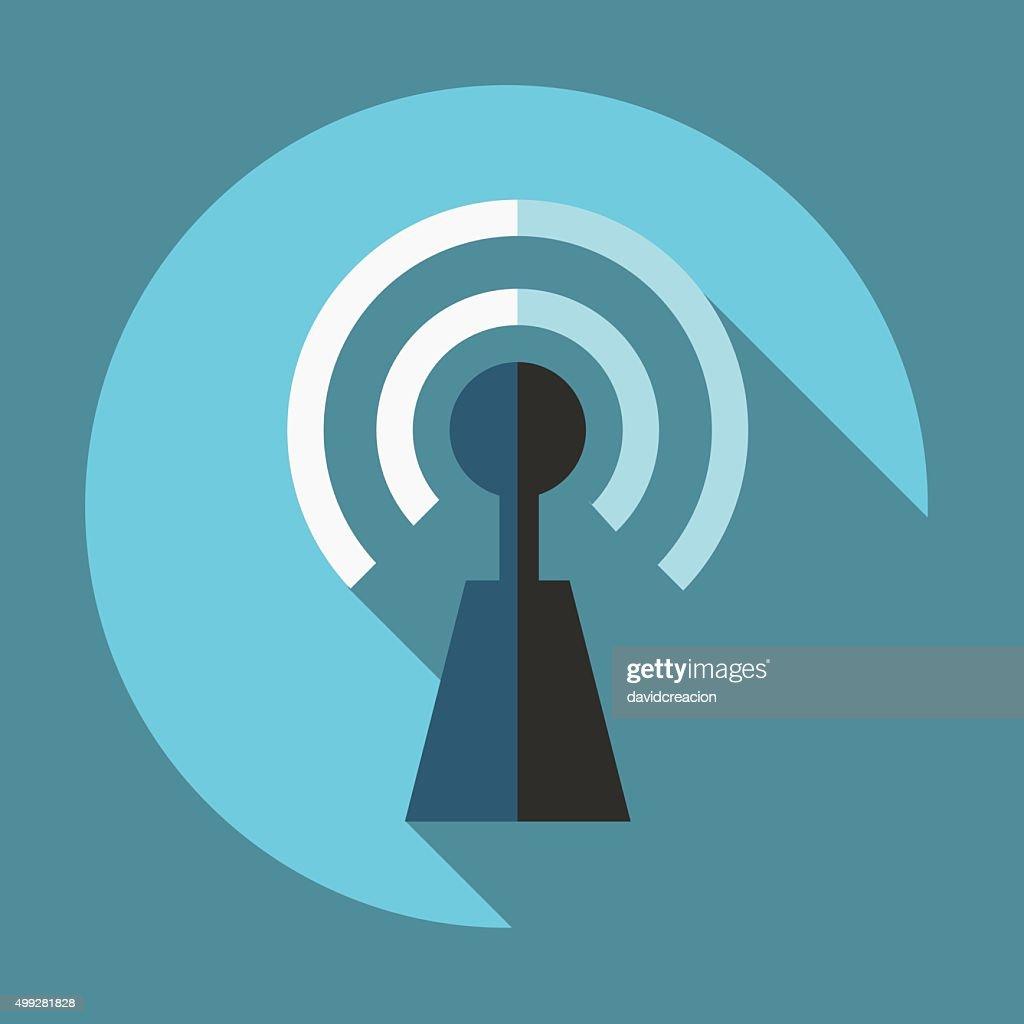 Flat Antenna Icon with Shadows on a Circular Button.