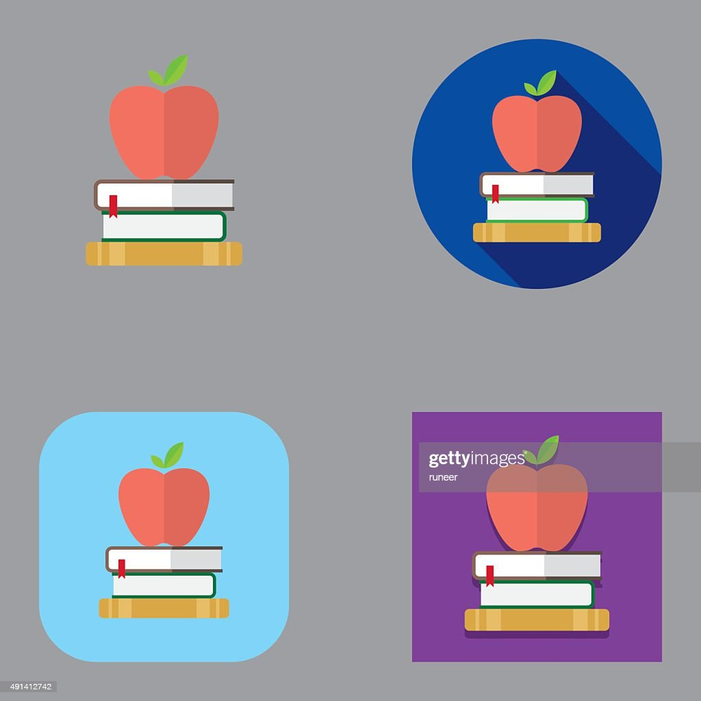 Flat Apple and Books icons | Kalaful series