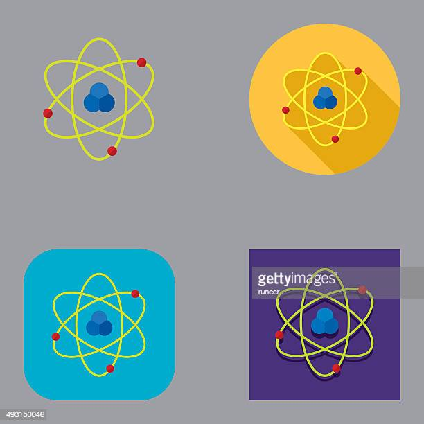 flat atom icons | kalaful series - nucleus stock illustrations, clip art, cartoons, & icons