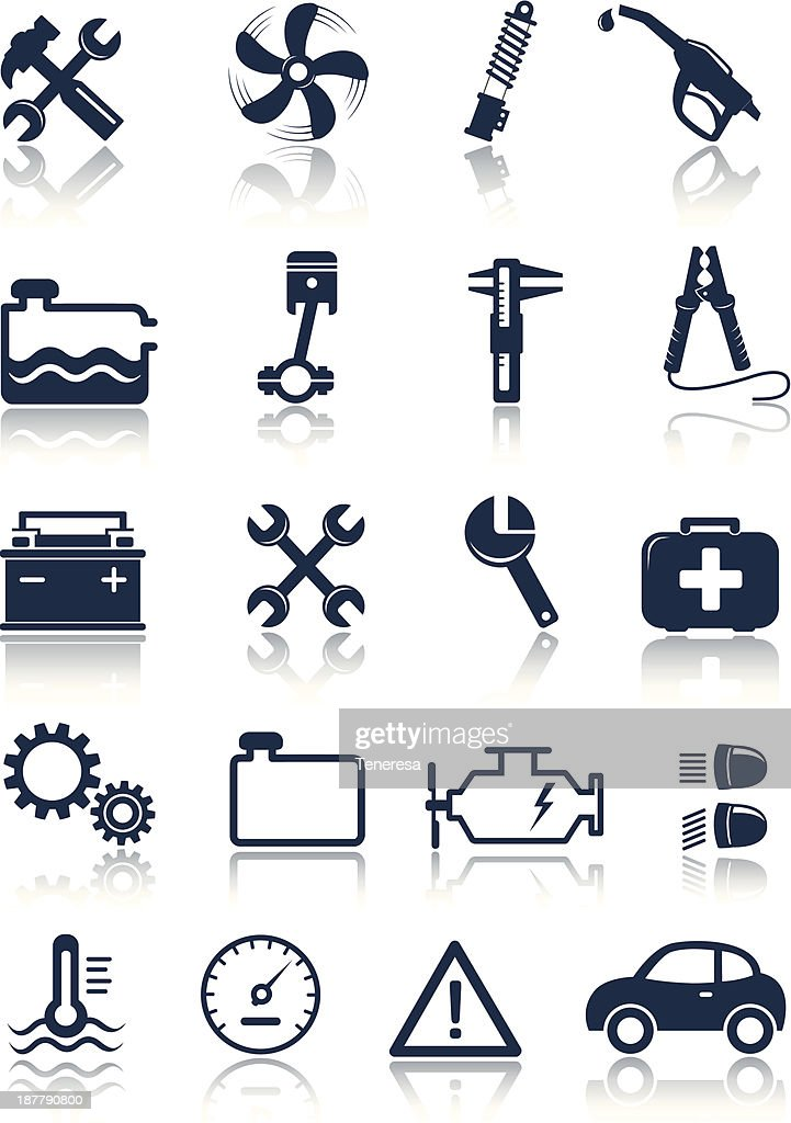 Flat auto service icons on a white background