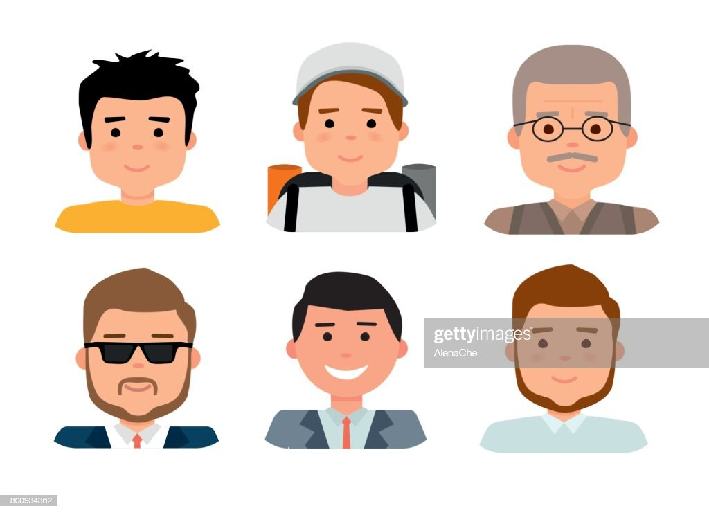 Flat avatar collection, set of 6 man icons in flat style with faces, avatars group of people.