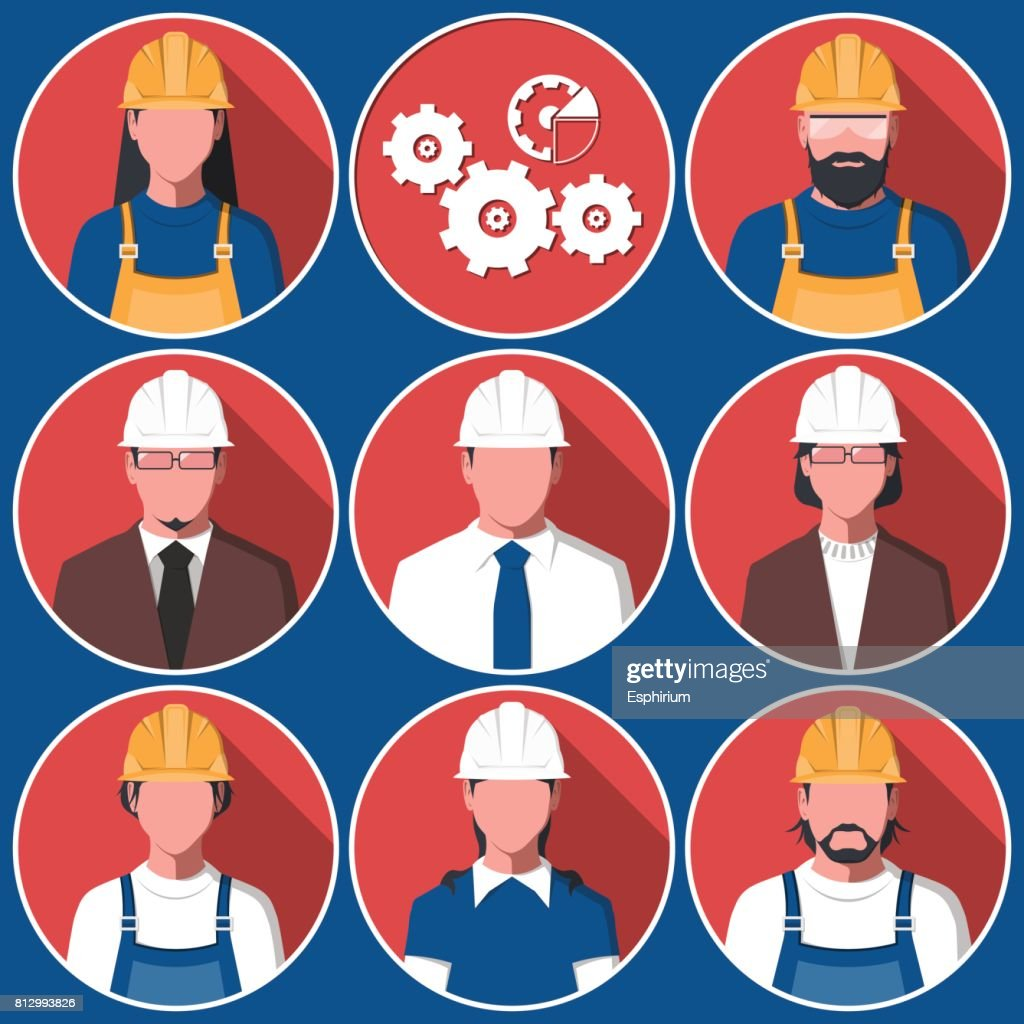 Flat avatars of engineering workers