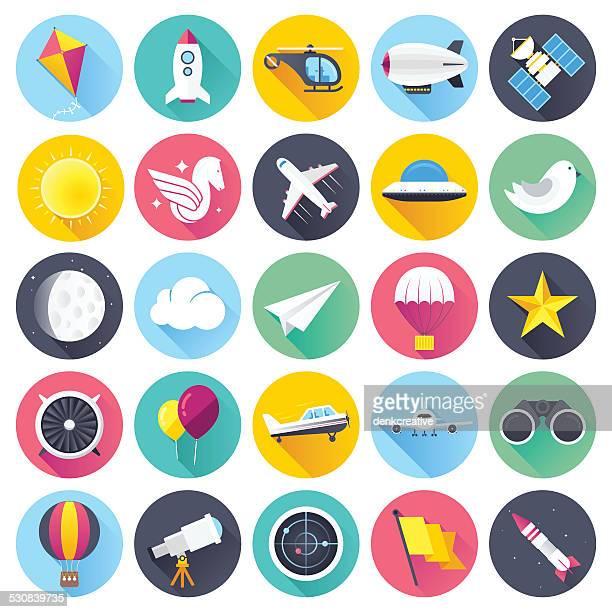 illustrations, cliparts, dessins animés et icônes de plat icônes de l'aviation - saut en parachute