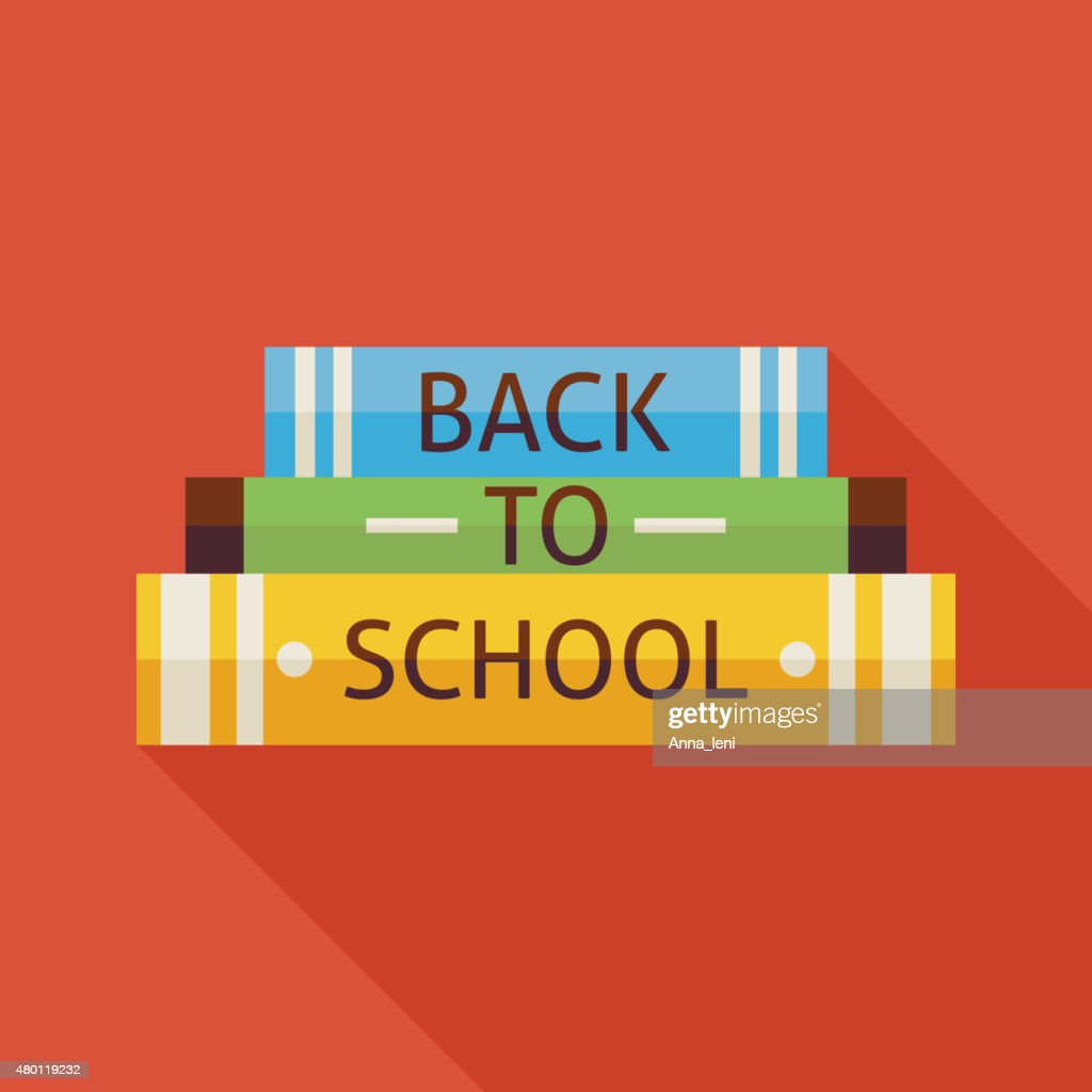 Flat Back to School Books Knowledge Illustration with Shadow