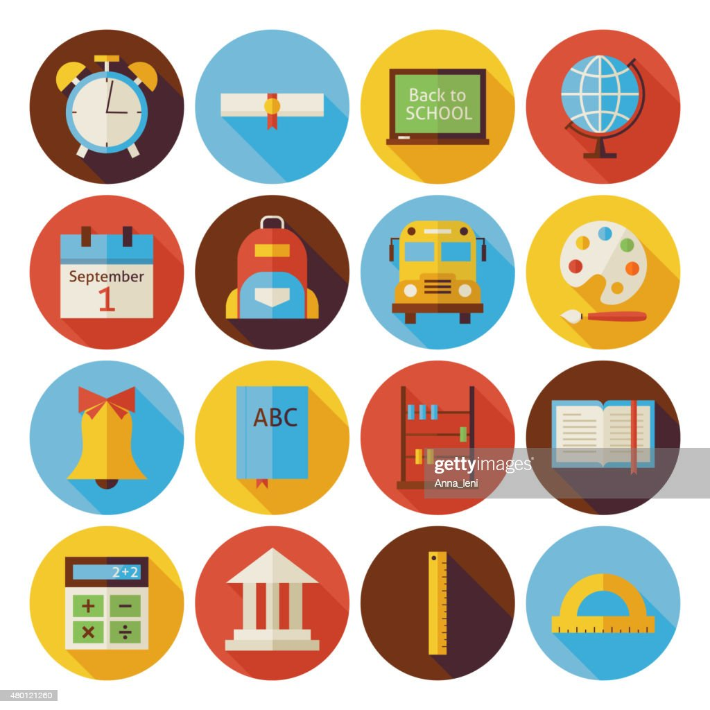 Flat Back to School Circle Icons Set with long Shadow