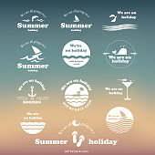 Flat Banner Designs - Set of Summer Related Typography, Labels or Icons