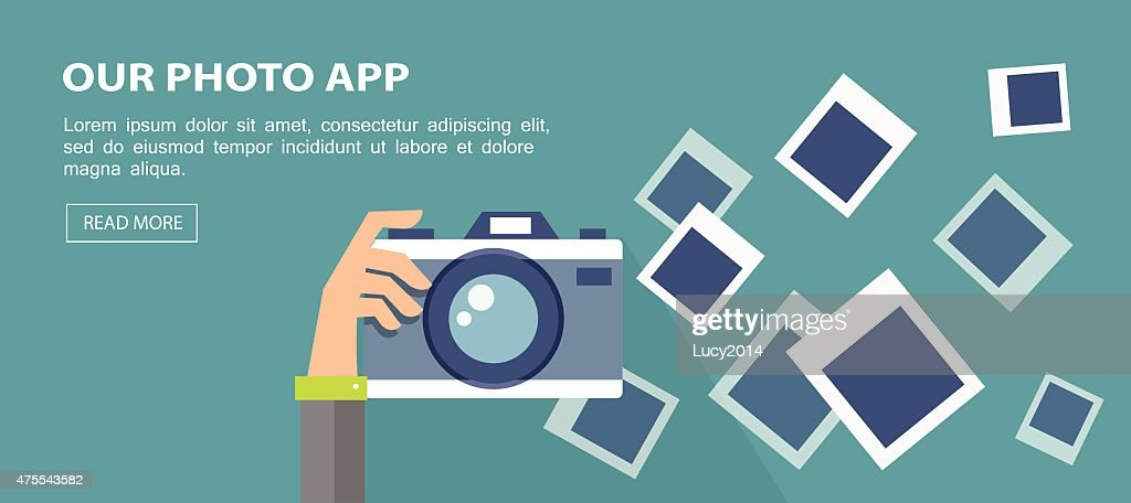 Flat banner. Illustration of hand holding camera with frames.