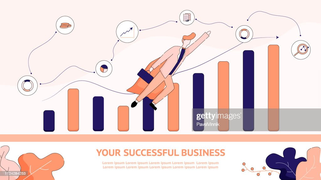 Flat Banner Illustration Your Successful Business