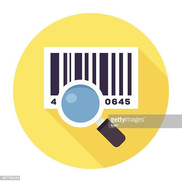 Icono plana con lector de códigos de barras
