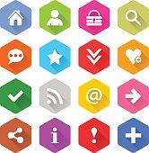 Flat basic icon set rounded hexagon web button