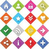 Flat basic icon set rounded rhomb web button