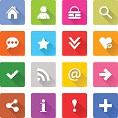 Flat basic icon set rounded square web button