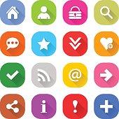 Flat basic icon set rounded square web button