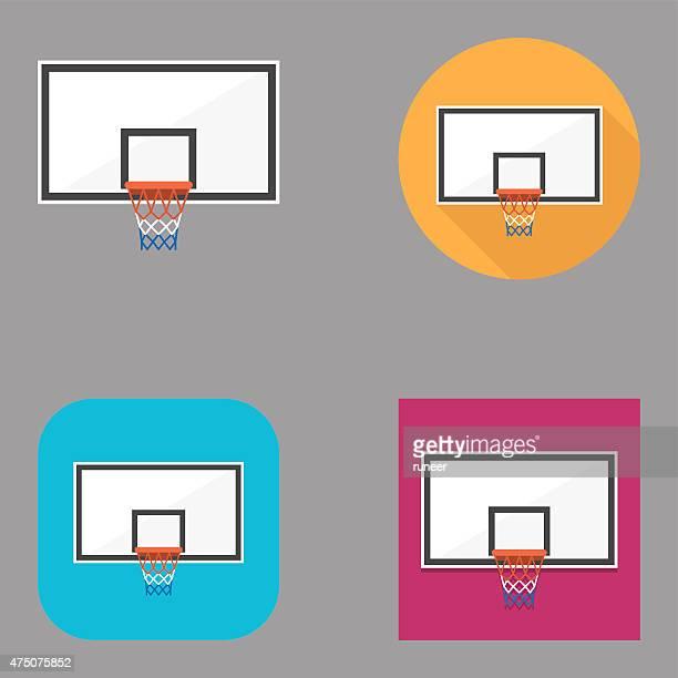 ilustraciones, imágenes clip art, dibujos animados e iconos de stock de tablero de baloncesto plano iconos/serie kalaful - canasta de baloncesto