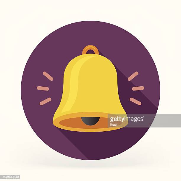 flat bell icon - bell stock illustrations