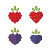 Flat berries icons