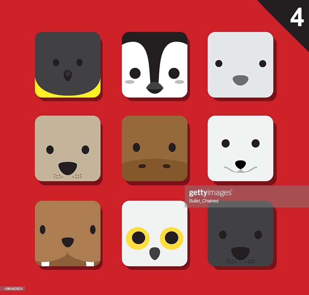 Flat Big Animal Faces Application Icon Cartoon Vector Set 4