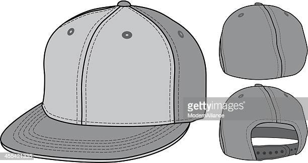flat bill urban fitted and adjustable hat cap - cap hat stock illustrations, clip art, cartoons, & icons