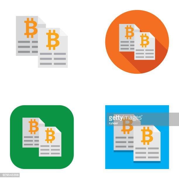 flat bitcoin ledger icons | kalaful series - accounting ledger stock illustrations, clip art, cartoons, & icons