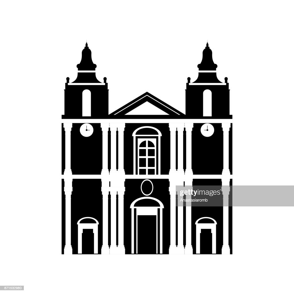 Flat black and white building of Malta country, travel icon landmark . City architecture. World European travel vacation sightseeing.