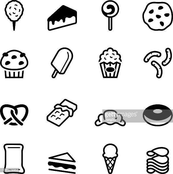 flat black and white junk icons - flavored ice stock illustrations, clip art, cartoons, & icons