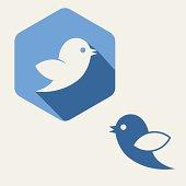 Flat blue,  bird twitter social media web or internet icon