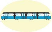 Flat blue undeground icon, subway symbol