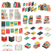 Flat books set. Book school library publishing dictionary textbook magazine open closed page studying vector collection