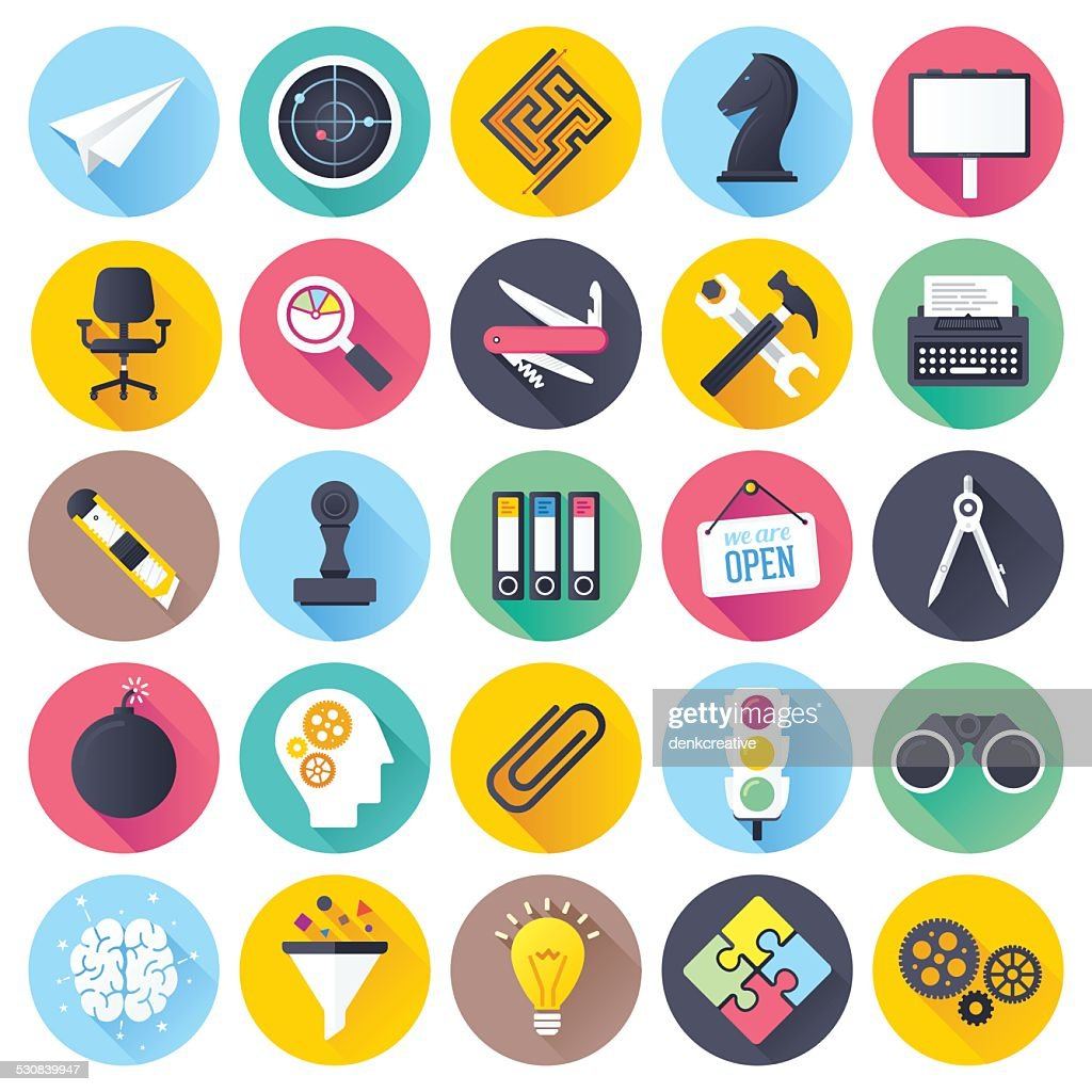 Flat Brainstorming Icons
