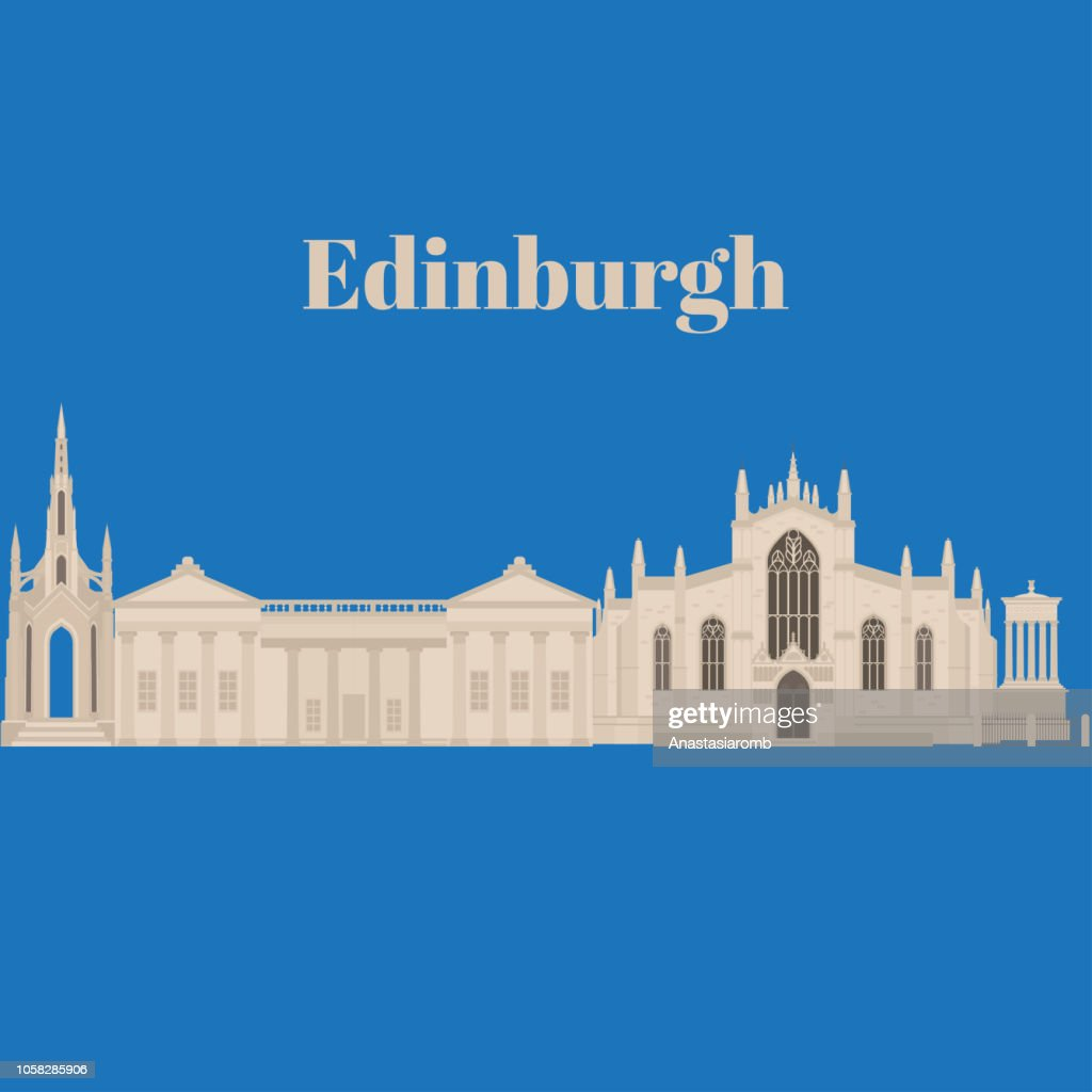 Flat building in Edinburgh Scotland, United Kingdom. Sightseeing and landmark. Architecture of Great Britain. St Giles Cathedral and Dugald Stewart and Scott Walter Monument