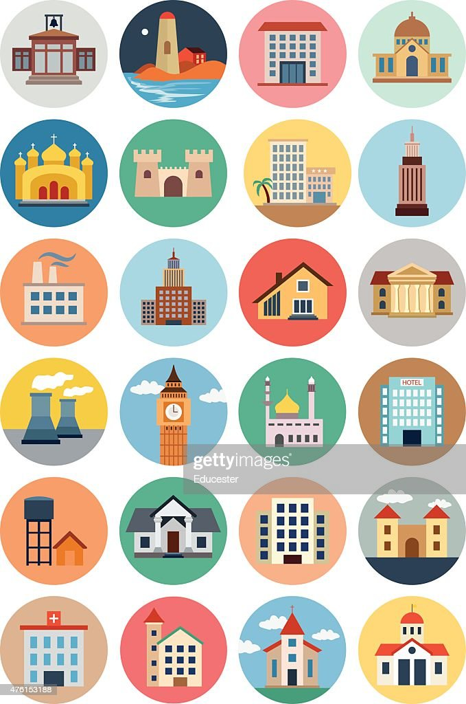 Flat Buildings Vector Icons 2