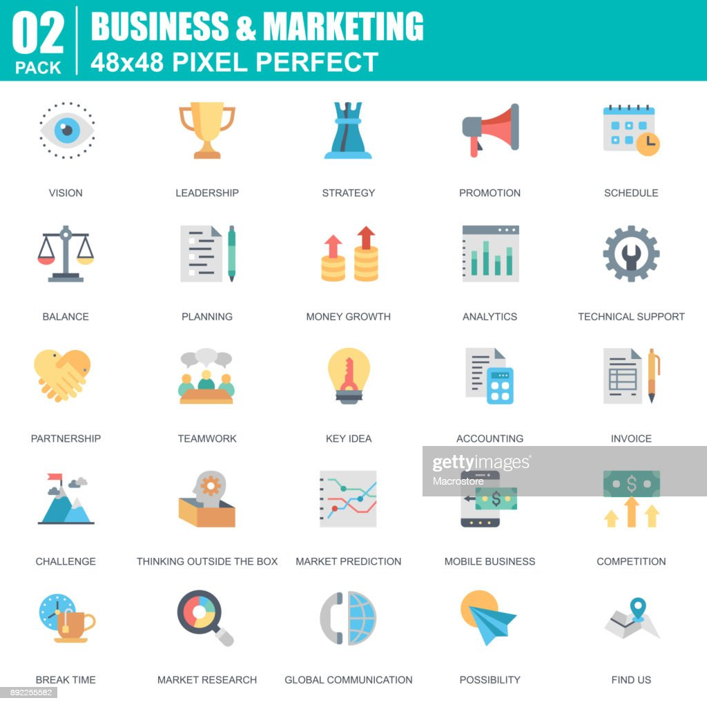 Flat business and marketing icons set for website