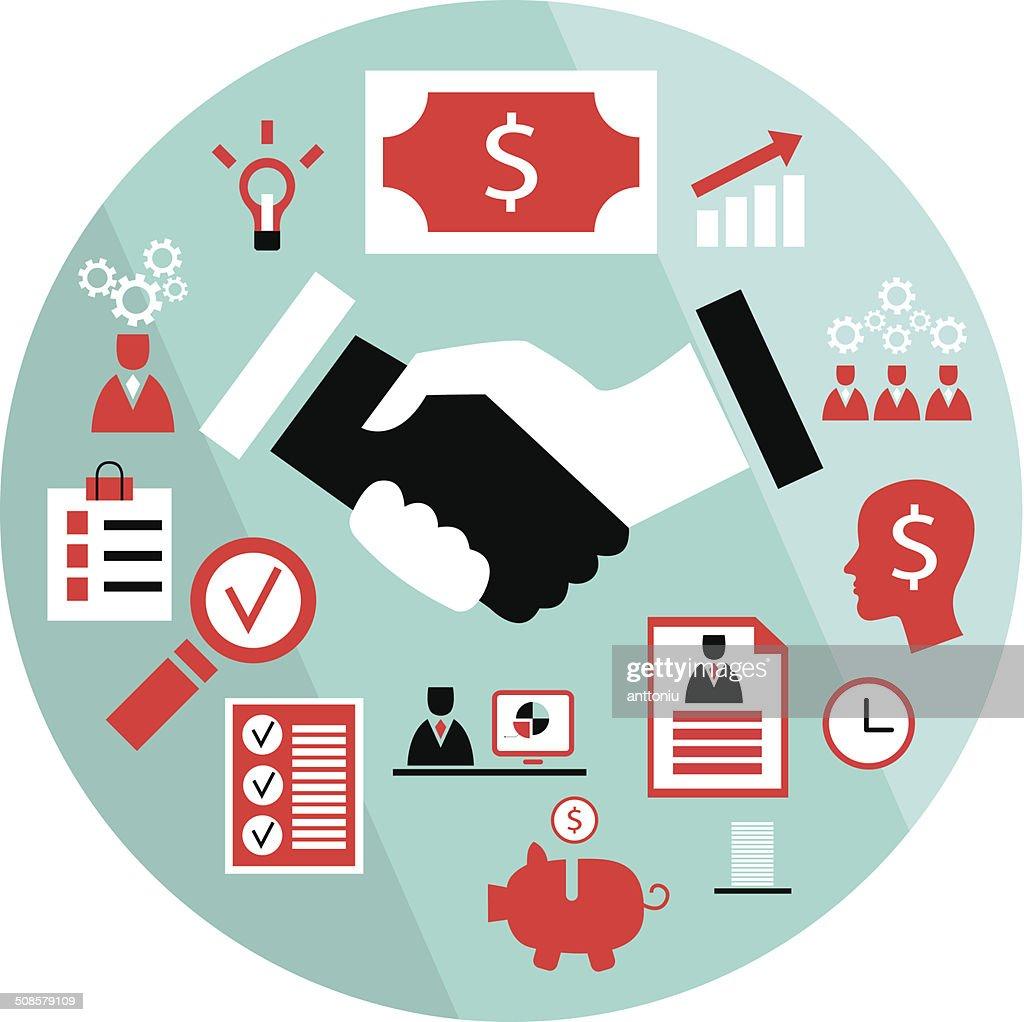 Flat business elements handshake partnership concept etc : Vector Art