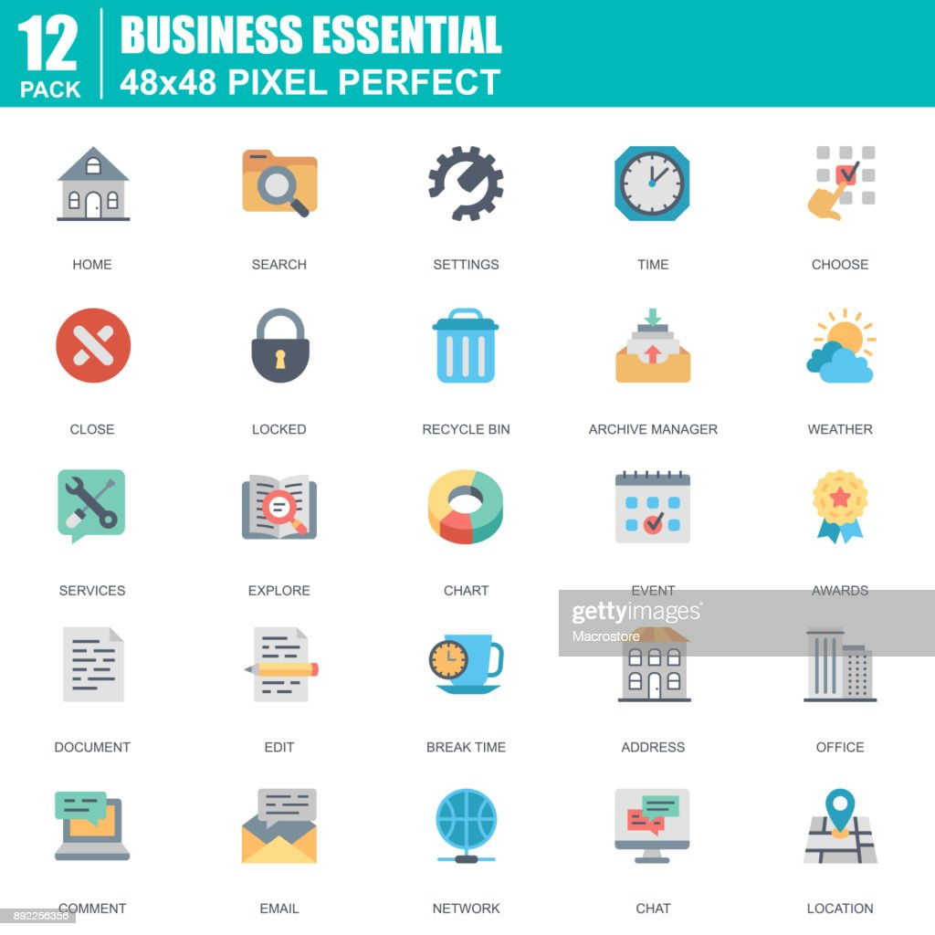 Flat business essential, office icons set for website