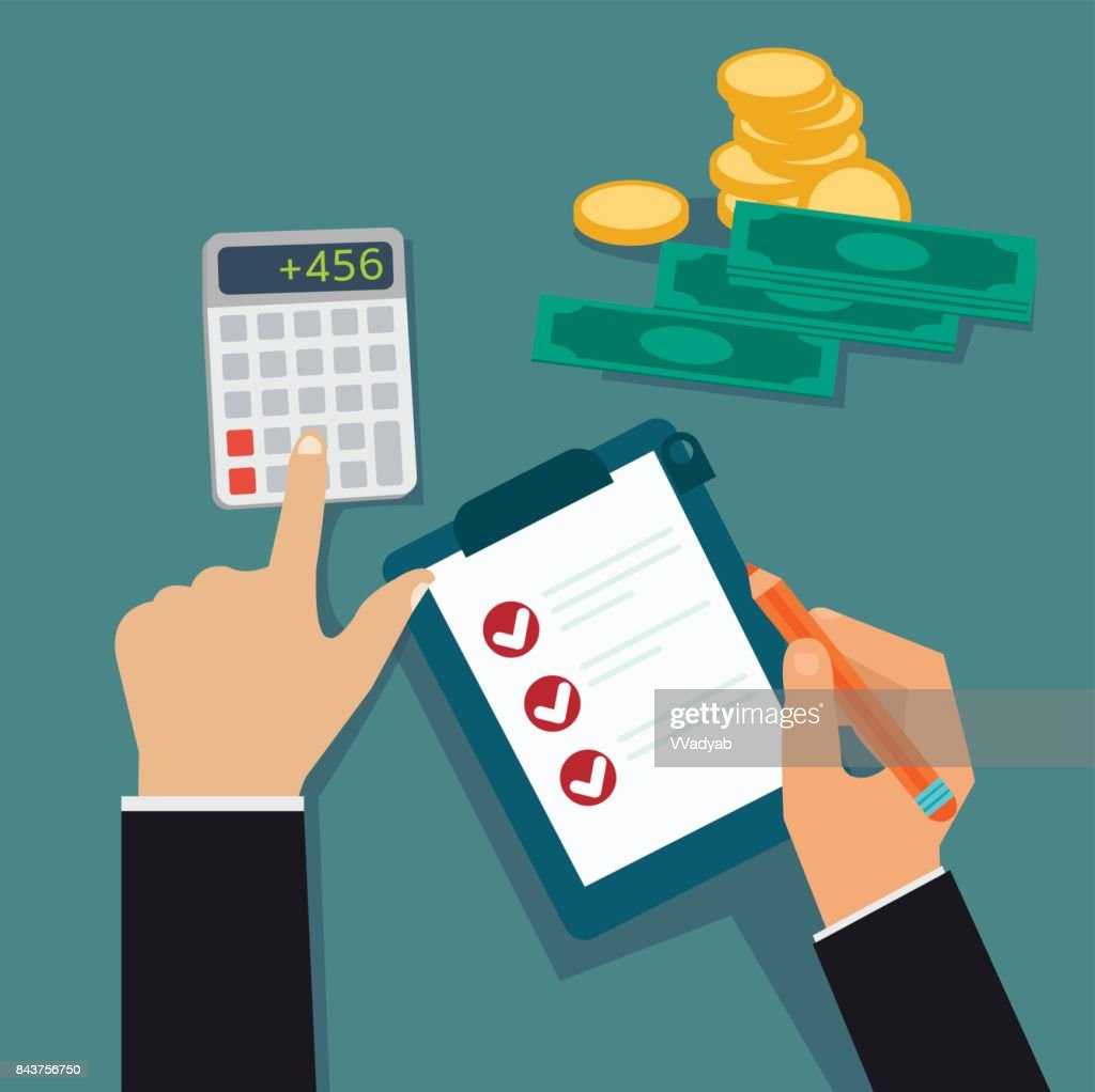 Flat business hands checking board and calculated cost, profit with money vector illustration.Financial concept vector.