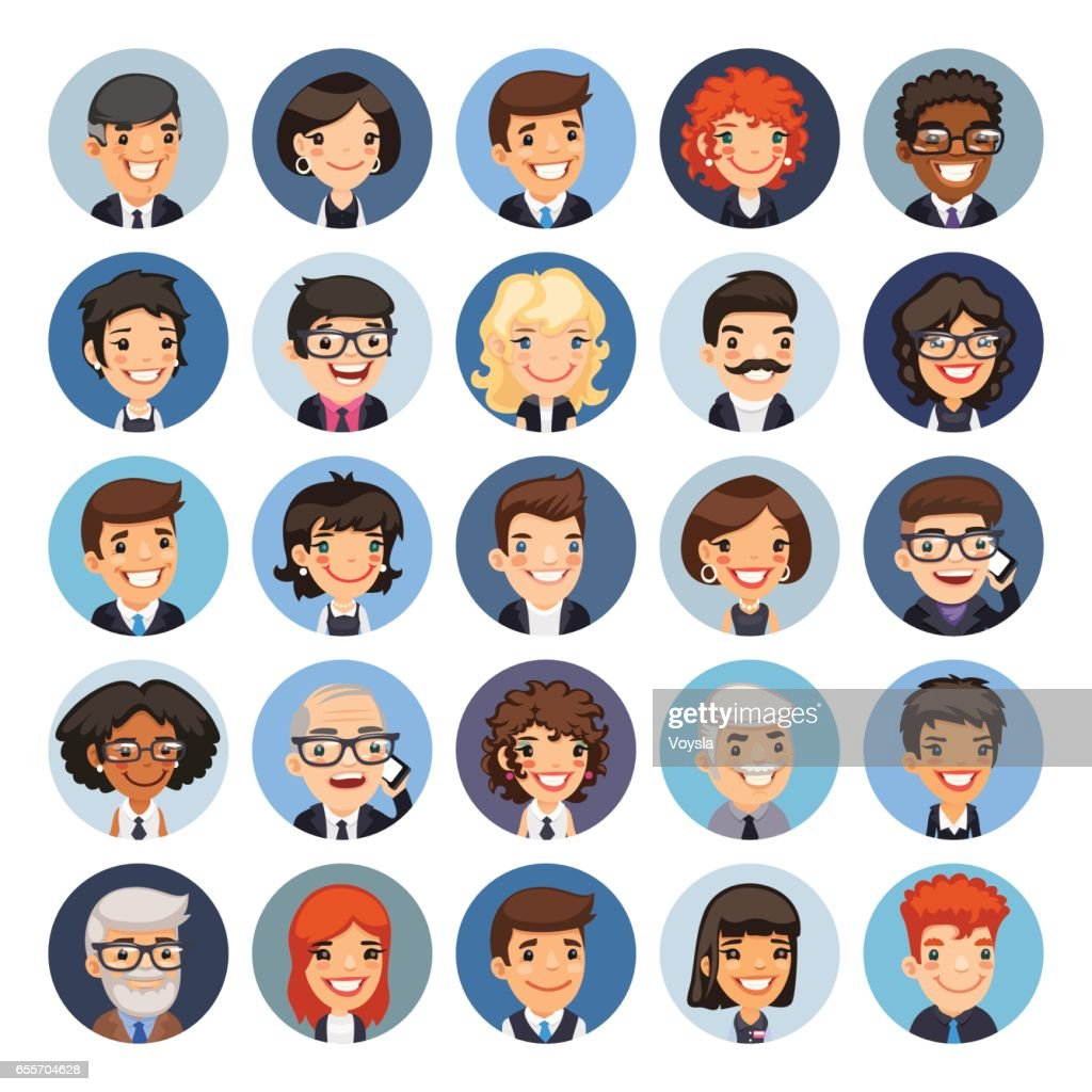 Flat Business Round Avatars on Color