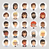 Flat Business Round Avatars on White