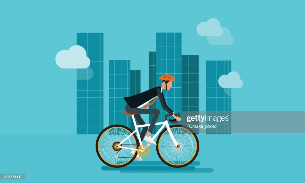 flat businessman character biking go to work in urban and energy saving concept